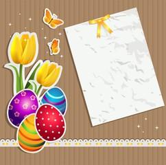 Easter eggs on card
