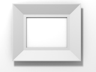 white frame with shadow on white wall