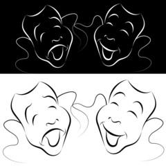 Drama Mask Line Art Set