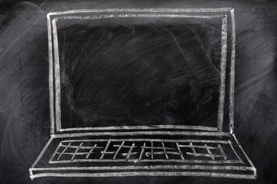 Chalk drawing of Laptop