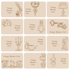 Set of Business Cards - Vintage Elements and Objects - hand draw