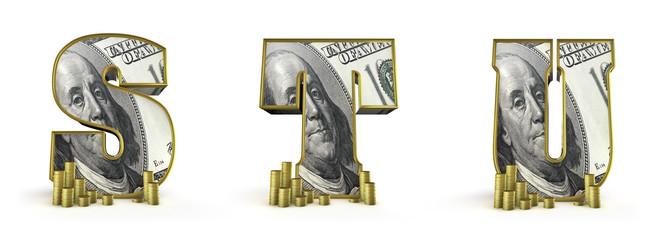 Money alphabet letters S T U