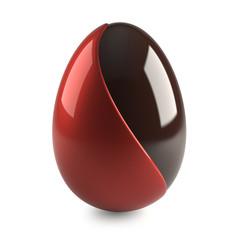 chocolate easter egg with red decoration on white background