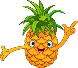 Cheerful Cartoon Pineapple character