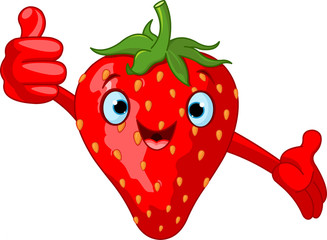 Cheerful Cartoon Strawberry character