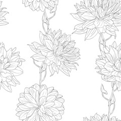 Hand drawn floral wallpaper with set of different flowers.
