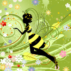 Recess Fitting Floral woman Little Bee Fairy Girl