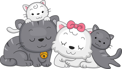 Deurstickers Katten Cat Family