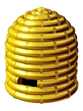 Bienenkorb in Gold