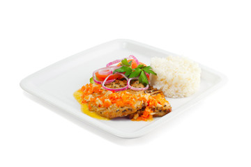 Rice with meat, vegetables and sauce