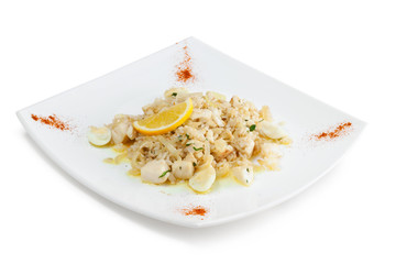 Rice with seafood and quail eggs