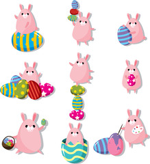 cartoon easter rabbit and egg icon