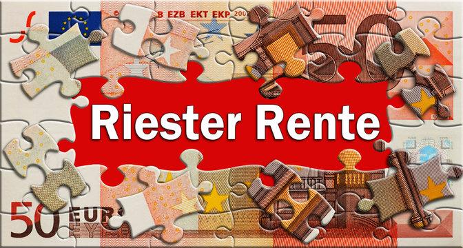 Riester Rente  - Puzzle - Geldschein
