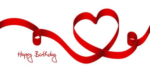 "Satin Bow Red Heart & 2 Swirls ""Happy Birthday"""
