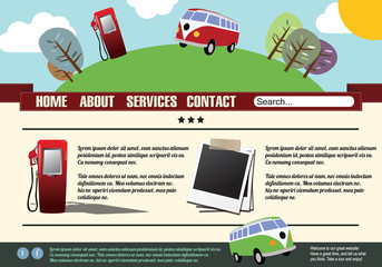 Website template design elements, vintage style