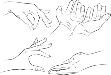 hand gestures set on white background - freehand