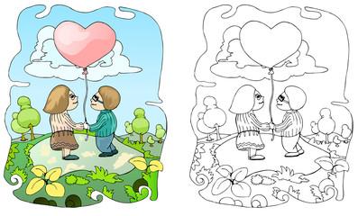 couple holding love balloon