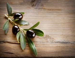Olives on a Wood background