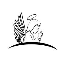 Angel praying creative logo