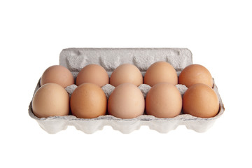 Eggs in cartoon pack isolated on white