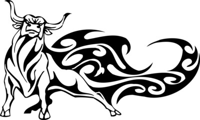 Tribal Bull - vector illustration, vinyl-ready.