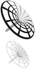 Black hole funnel generated with circles and lines. Illustration on white background. Vector.