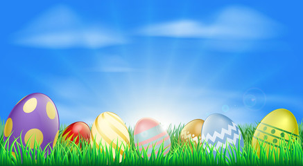 Bright Easter eggs background