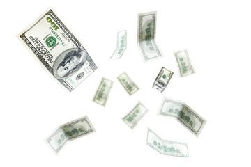 One hundred US dollar bills flying on white background