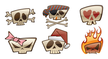 Square Skull Icons Two