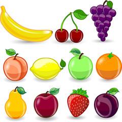 Мультфильм апельсин,  яблоко, груша,  слива, лимон, виноград