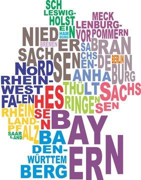 Germany map word cloud