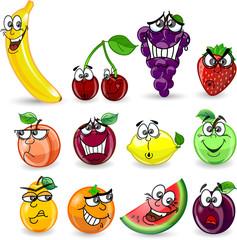 Мультфильм апельсин, банан, слива, лимон, виноград, арбуз