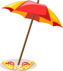 Пляжные зонтики и тапочки, фон