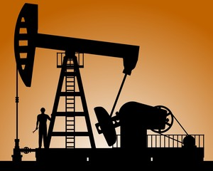 Silhouette of oil pump. Pump rocking. Crude oil production.