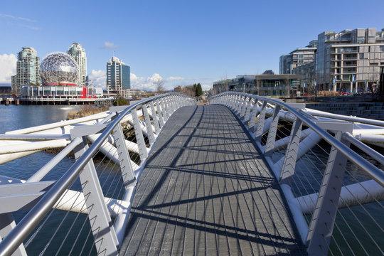 Pedestrian bridge at False Creek Olympic Village Shoreline Park