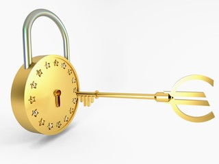 Golden Lock, key and stars