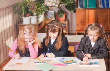 schoolgirls in classroom