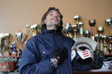 PIlot with trophies