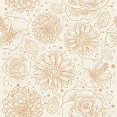 Floral seamless retro pattern