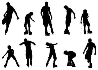 jeune faisant du patin a roulette