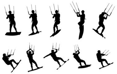 silhouette de kitesurfeur