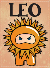 Zodiac sign Leo with cute ninja character