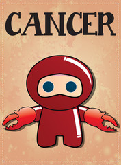Zodiac sign Cancer with cute ninja character
