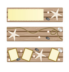 Set of banners with seastar, rope, stones on deck background