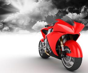 Keuken foto achterwand Motorfiets Bolide rosso su sfondo bianco con sfondo di nuvole