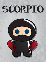 Zodiac sign Scorpio with cute ninja character