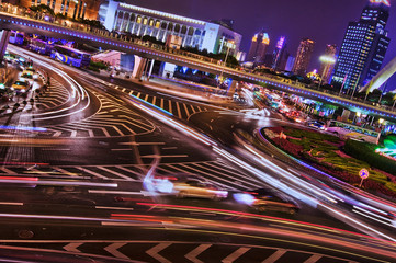 Quartier de Lujiazui de nuit - Shanghai (China)