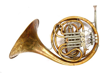 old french horn Wall mural