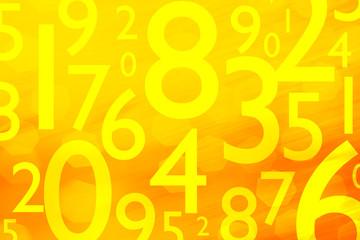 Fond orange - Chiffres - Mathématiques