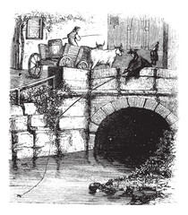 Fig. 76. Fly fishing from a bridge, vintage engraving.